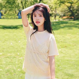 AGECNETRE 蕾丝t恤夏季2018女短袖甜美夏装修身气质网纱两件套