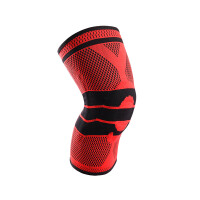 硅胶男女款篮球足球跑步健身半月板损伤海绵登山户外运动护膝护具 红色 M单只装上腿围34-42体重90-120斤