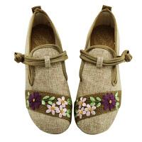 民族风白色绣花鞋子平底妈妈亚麻大码单鞋春夏新款女鞋老北京布鞋