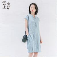 【限时抢购】云上生活夏装短袖裙V领宽松腰连衣裙女中裙L9830