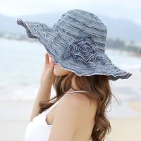 遮阳帽子女夏季防晒帽出游沙滩帽可折叠海边大檐帽可调节 可调节