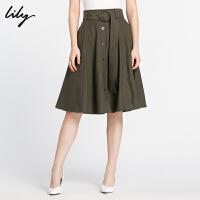 【25折到手价:129.75元】 Lily冬新款女装复古收腰修身单排扣A字半身裙118420C6619