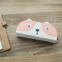 麦和MH1702-427大眼猫半圆布艺笔袋白色创意文具帆布笔盒可爱卡通文具袋韩式风格大中小学生幼儿园男女孩办公开学用品