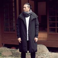 原创冬装新品中国风翻领长款棉衣青年立领休闲加厚男外套 黑色