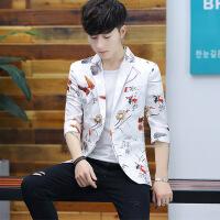 夏季新款男士中袖西服韩版修身发型师个性七分袖小西装男短袖外套