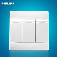 飞利浦Q4系列墙壁开关插座面板86型Q4-263三位三开单控单极开关白色