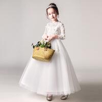 儿童礼服公主裙女童婚纱蓬蓬纱花童钢琴演出服长袖小主持人春夏季