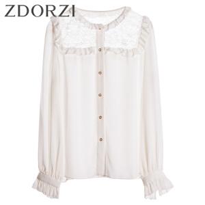 zdorzi卓多姿2018秋装新款甜美蕾丝雪纺木耳边长袖衬衫女636E233