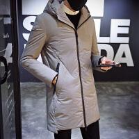 反季羽绒服男冬季中长款韩版个性口袋修身款男生外套小清新夹克