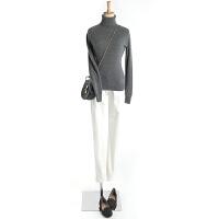 秋冬高领羊绒衫女套头显瘦毛衣修身短款纯色长袖打底衫插肩袖针织