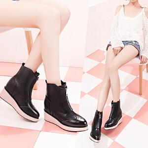 毅雅女鞋秋冬新款骑士靴英伦风短靴女布洛克靴子女坡跟平底女短靴