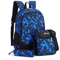 自然鱼 书包中学生男时尚潮流高中生大学生背包休闲包 双肩包配小挎包笔袋