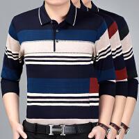 秋装潮款中年男士长袖T恤带领有宽松针织衫薄款爸爸装体恤衫上衣
