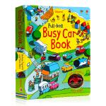 Usborne 繁忙的小汽车 Pull-back Busy Car 英文原版进口 少儿童互动游戏英语读物 小汽车轨道书