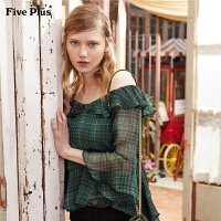 Five Plus女装格子衬衫女宽松露肩吊带雪纺衫中袖荷叶边潮