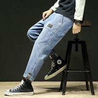 男士牛仔裤宽松大码直筒休闲裤2019秋冬季新款青少年学生哈伦裤潮