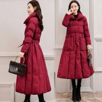 2018秋季新款羽绒棉衣女中长款2018冬装新款韩版时尚修身过膝加厚冬季外套