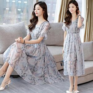 RANJU 然聚2018女装夏季新品新款韩版长款沙滩裙短袖仙女气质雪纺长裙连衣裙