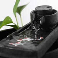陶瓷流水摆件鱼缸办公室桌面喷泉客厅风水轮加湿器禅意 (大)+雾化器