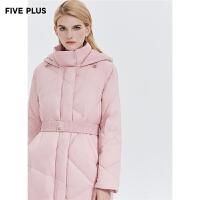 Five Plus新款女冬装过膝长款羽绒服女宽松连帽外套大衣长袖立领