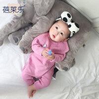 男婴儿连体衣服女宝宝新生儿0岁5个月秋季针织秋冬季毛衣