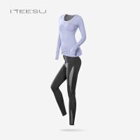 瑜伽服套装女新款秋冬季专业运动长袖上衣带胸垫健身房