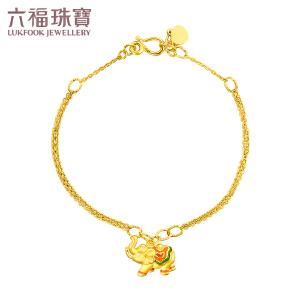 六福珠宝 足金珐琅手链吸水象彩云小象黄金手链女款   L37TBGB0001