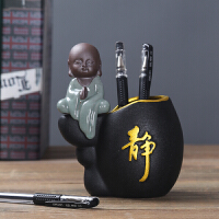 陶瓷笔筒创意简约复古中国风男可爱北欧时尚女学生办公室桌面摆件