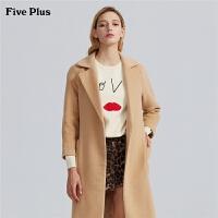Five Plus女装过膝长款毛呢大衣女西装款呢子外套宽松长袖
