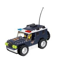 万格塑料拼装积木小人城市警察车模型040215