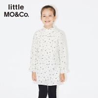 【到手价619】littlemoco秋季新品女童连衣裙木耳边小立领印花桑蚕丝童装裙子