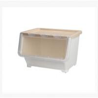 加厚侧开门衣物收纳箱特大号玩具塑料整理箱透明叠加厨房储物箱