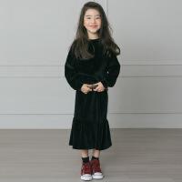 韩版女童卫衣套装2018秋季T恤鱼尾半身裙中大童母女包臀裙套
