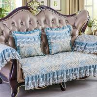 沙发垫四季通用欧式布艺沙发套罩巾坐垫123组合沙发套全包�f能套 时宜 水蓝