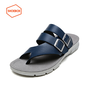 达芙妮旗下SHOEBOX/鞋柜夏季新款防滑凉拖鞋套趾沙滩鞋休闲男凉鞋