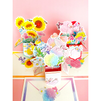 Endu恩都儿童贺卡DIY制作手工材料包3D立体 花朵幼儿园自制卡片小学生创意