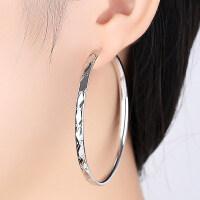 925银大小圆圈款圆脸耳环女适合韩国气质耳圈耳坠圆形圈圈耳饰