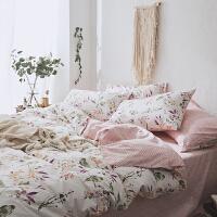 家纺全棉床上用品四件套纯棉韩式田园1.8m床单被套件1.5m床笠床品