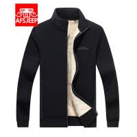 战地吉普AFS JEEP男士秋冬加绒针织开衫 户外休闲保暖立领运动夹克外套