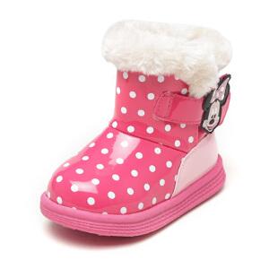 鞋柜/迪士尼冬加绒儿童女鞋卡通魔术贴低筒短靴1
