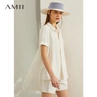 【券后预估价:130元】Amii极简小众设计感上衣2020夏新款宽松前短后长风琴褶白色雪纺衫