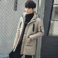 棉服男中长款风衣冬季新款棉衣连帽加厚保暖棉服外套韩版