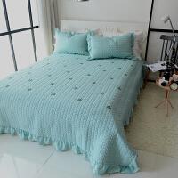 风韩国可水洗床盖三件套夹棉床单绗缝被套四件套床盖单件褥子 经典款 绿色雪花