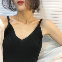 夏装新款复古修身V领性感吊带竖纹针织打底内搭背心女韩版外穿 均码