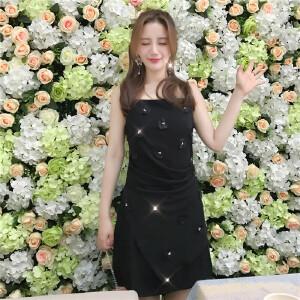 2018夏季立体花朵新款显瘦吊带连衣裙女打底心机chicA字裙
