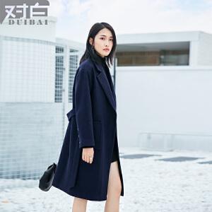 对白简约中长款直筒毛呢外套女新款长袖系带翻领呢大衣