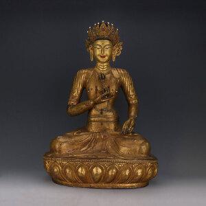 清代 铜鎏金金刚萨陀坐像