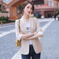 俏依惠薄款短款小西装外套女2021春季韩版欧货气质休闲百搭垂感西服上衣