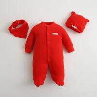 婴儿连体衣服纯棉宝宝新生儿哈衣0-3个月春秋冬季冬装睡衣1满月服