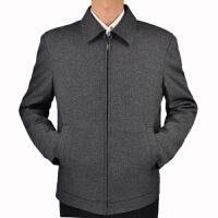 中年男士夹克春秋款爸爸装商务休闲夹克衫中老年外套男大码宽松 浅灰色拉链夹克